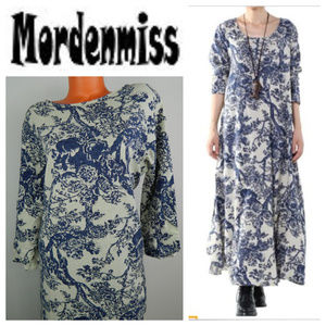 MORDENMISS Large MAXI DRESS Toile Floral BLUE Boho